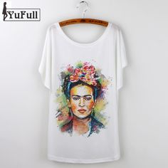 3abf76125d8 Frida Kahlo Print Camisetas Mujer Summer 2017 Casual T-Shirt Women Tops  Harajuku White Loose Tshirt Short Sleeve T Shirt Femme