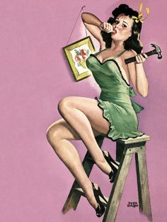 Do-it-yourself Pin up with green dress on We Heart It Pin Up Vintage, Vintage Glamour, Vintage Art, Estilo Pin Up Retro, Retro Pin Up, Pinup Art, Pin Up Illustration, Illustrations, Pin Up Girls