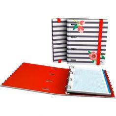 """CarpeBook DIN-A5 Archivador de la nueva colección Noa 2017 en su serie """"Rayas"""".  #papeleria #materialescolar #materialdeoficina #Grafoplás #diseño #rayas #chica #flores"""