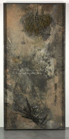 Anselm Kiefer, Was sagte Odin zum toten Balder als dieser auf dem Holzstaub lag, 2007, Oil, emulsion, acrylic, shellac, ceramic, lead, fabric, metal, sand and chalk on canvas in glass and steel frame