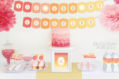 Printable Party Pack Ombre Collection INSTANT DOWNLOAD You are my Sunshine Birthday Banner Cupcake Toppers Wrappers Drink Flags Water Wraps