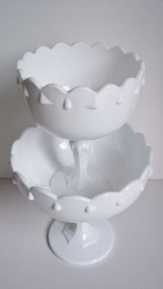 2 Vintage Indiana Milk Glass Compotes Home by SPARKLESandSASS, $35.00