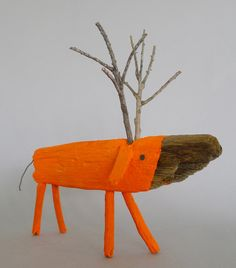 Neon Orange Wooden Deer van CocoetPompon op Etsy
