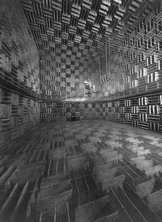 "Bell Telephone Acoustics Lab, 1947 by Eric Schaal   ""Bell Telephone engineer in a research room designed to eliminate 99% of all outside sound""  (via letsbuildahome-fr)"