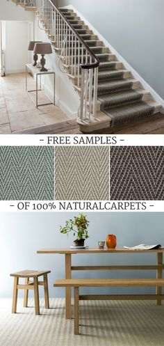 Ordering 100% natural carpets online from Naked Flooring couldn't be easier and allows you to enjoy high quality flooring for your home at excellent prices. Simply add free samples to your basket as you browse our site and get them delivered straight to your door. Get your first 2 samples free and pay just 75p for each additional sample. Pictured: Sisal Herringbone carpets and stair runner