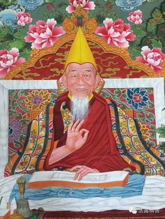 This is a portrait in the style of Amdo Jampa of Jia Mu-like Tu Boudan, a Mongolian Lama born in 1925