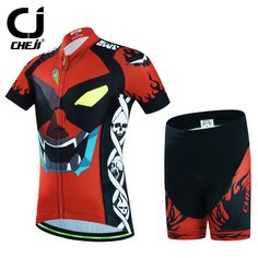 1ee9f2c8a59 CHEJI 2017 Child Short Sleeve Cycling Clothing Bike Jersey Shorts Sets  ciclismo Boys Girls Team Bicycle Kids mtb Shirts Suits-in Cycling Sets from  Sports ...