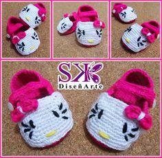 Lindas Zapatillas de #HelloKitty realizadas por encargo para una niña de 3 a 6 meses. #crochet #ganchillo #tejido