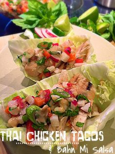 Thai Chicken Tacos with Bahn Mi Salsa -  Mixing Thai & Vietnamese with this guilt free taco!  #GlutenFree #Skinny