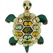 Swarovski Crystal Green Sea Turtle Animal Brooch Pin