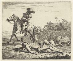 Karel Dujardin | Slagveld met ruiter te paard en twee dode mannen, Karel Dujardin, 1652 | Ruiter te paard inspecteert op een slagveld twee dode lichamen van mannen en een dood paard. Een man draagt een bundel op zijn schouders. Op de achtergrond komen soldaten te paard met vaandels voorbij.
