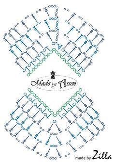 Crochet Shawl Diagram, Crochet Bikini Pattern, Crochet Poncho Patterns, Knitting Patterns, Crochet For Kids, Crochet Baby, Knit Crochet, Crochet Squares, Hand Embroidery Patterns