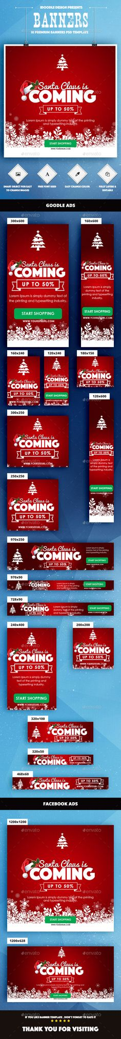 Merry Christmas Web Banners Template PSD #design #ads #xmas Download: http://graphicriver.net/item/merry-christmas-banners-ad/14066295?ref=ksioks