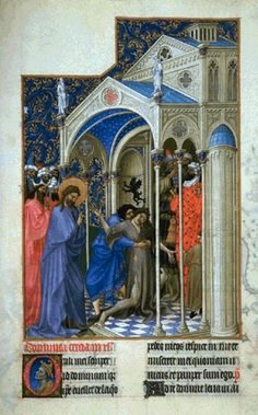 Van Limburg brothers 1375 – 1416     The Healing of a Possessed     illuminated manuscript — 1413-16