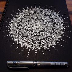 Silver mandala в 2019 г. white on black: zentangle, mandala, Mandala Art Lesson, Mandala Doodle, Mandala Artwork, Mandala Canvas, Mandalas Painting, Doodle Doodle, Doodle Borders, Henna Mandala, Doodle Patterns