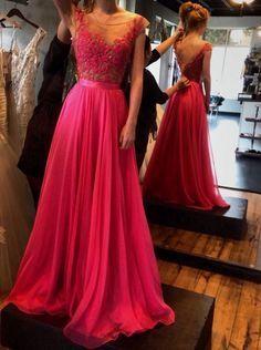 Princess Prom Dress, Evening Dress Scoop Appliques Chiffon V-back, Floor-Length Prom Dresses, Sexy Prom Dresses, A-Line Prom Dresses, Charming Backless Evening Dresses