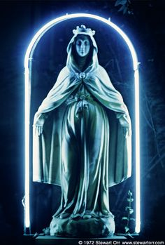 Virgin Mary with a neon halo