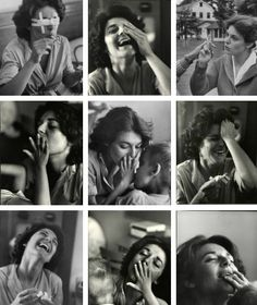 """Anne Bancroft at a home for the blind preparing for her role in """"The Miracle Worker""""."""
