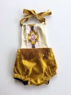 Boho baby romper fringe romper aztec print by ChaoticCutieCo