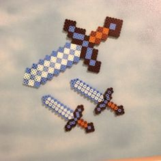 Minecraft swords perler beads by evbeadsprites