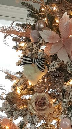 White Christmas Tree, Blush, Pink, Gold, Champagne, Touch of Black with cute cottonballs