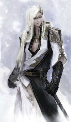 Not necessarily dressed like Seven, but I love his posture. And white long hair off course :)