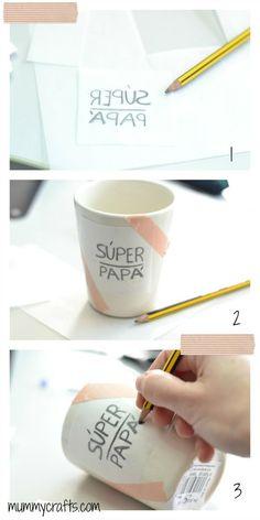 Calcar el dibujo sobre la taza paso a paso