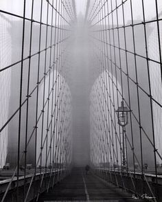 Foggy Day on Brooklyn Bridge Poster Print by Henri Silberman x Brooklyn Bridge, Brooklyn Nyc, New York Poster, Mid Century Modern Art, Black And White Pictures, Black And White Photography, Mists, Art Photography, Contemporary Photography