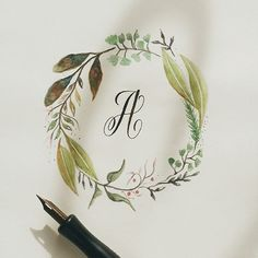 This serie is a combination of my journey to learn calligraphy and bringing back my love affair with watercolors. I thought of constructing the capital letters and playing around with different wreaths.
