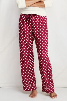 8b11197a14 Women s Print Flannel Sleep Pants from Lands  End in Cherry Plum Dot Pj  Pants