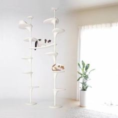 A CatForest set, including five shelves is ¥34,560 and is available in a rustic brown or minmalist white.