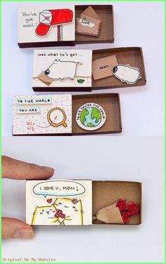 gift idea made of matches' box – Geschenkideen – Manualidades Valentines Bricolage, Valentines Diy, Tarjetas Diy, Matchbox Crafts, Diy And Crafts, Paper Crafts, Diy Gift Box, Gift Boxes, Diy Gifts For Friends