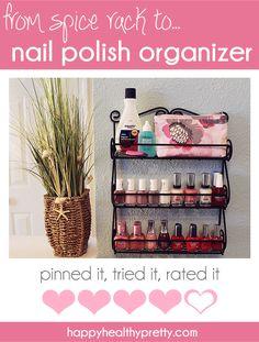 from spice rack to nail polish organizer. @Annabel Schubert Fagan