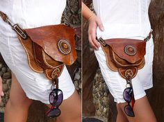 Leather hip and shoulder bag by HolyCowproducts on Etsy Tooled Leather Purse, Leather Belt Bag, Brown Leather Belt, Black Leather Bags, Leather Crossbody, Leather Wallet, Soft Leather, Hippie Boots, Boho Boots