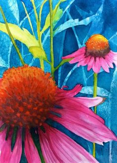 Watercolor cone flowers