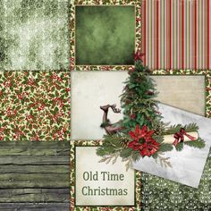 Old Time Christmas Paper Set  4 - Digital Scrapbooking