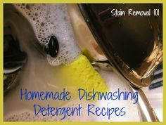 Homemade Dishwashing Detergent Recipes (one with liquid castile soap and one with ivory bar soap... try castile bar soap?)
