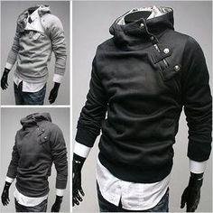 South Korea  man's slim coat ( HOODIE inside fur ) sweatshirt jumper 0804au