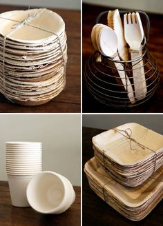 Eco-Friendly Party Plates 100/% Compostable and Biodegradable Soup Bowl Casparo Eco Design Sustainable Disposable Tableware 25 x Beautiful Disposable Wood Bowls