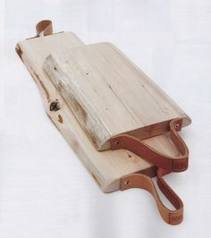 Beautiful hand crafted wooden platter with leather - restored.nl