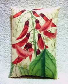 Botanical Pillow Cushion Red Flowers Vintage Style