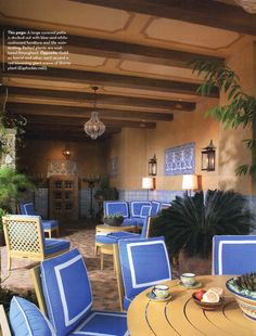 Panels on ceiling between beams, featured in Phoenix Home & Garden magazine.