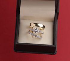 Yellow Gold FN Diamond Engagement Bridal His Her Wedding Band Trio Ring Set Bridal Bands, Wedding Ring Bands, Bridal Sets, Band Engagement Ring, Engagement Ring Settings, Diamond Anniversary Rings, Diamond Ring Settings, Yellow, Type