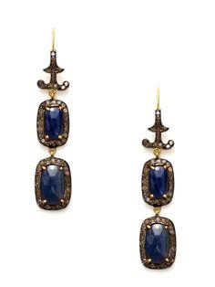 Champagne Diamond Curve & Sapphire Rectangle Drop Earrings