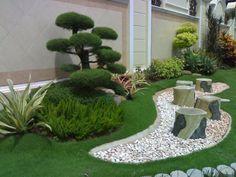 Garden, : Delightful Picture Of Simple Garden Landscaping Decoration Using Round Stone Garden Bench Including White Pebble Garden Floor Decor And Light Grey Brick Garden Edging
