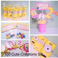 Despicable Me girl birthday party favors! Juice box, cupcake toppers, candy bags & centerpiece! Made by Too Cute Creations SB!