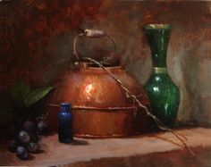 Copper with Green Vase by Kathy Tate Oil ~ 11 x 14