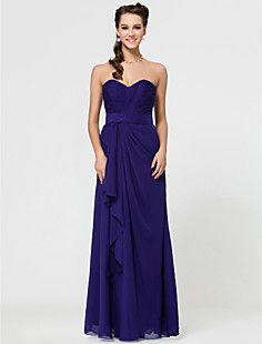 Sheath/Column Sweetheart Floor-length Chiffon Bridesmaid Dre... – USD $ 67.99