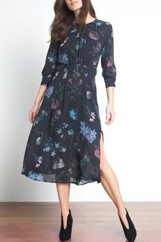 20be62966ca Floral Print Long Sleeve Midi Dress Floral Midi Dress by Urban Touch.  Clothing - Dresses