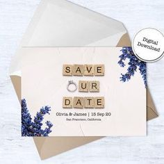Save Our Date  Save The Date Cards  Instant Download  image 3 65th Birthday Cards, Happy Birthday Printable, 60th Birthday, Announcement Cards, Wedding Announcements, Scrabble Wedding, Scrabble Tile Art, Printable Cards, Save The Date Cards
